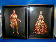 Copper Embossed Stamped Picture Victorian Man & Woman Vintage Framed @2B