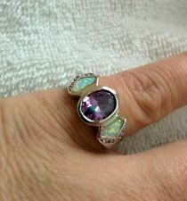 Artisan's White Fire Opal & Amethyst & Cz's  Sz 9  Ring  set in Gold filled New