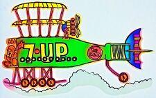 Original Vintage 7 UP The Uncola Soda Cartoon Bi-Plane Transfer