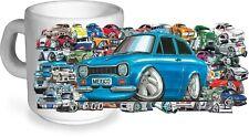 KOOLART Stickerbomb Style Motif & Mk1 Ford Escort RS Mexico Image Coffee Tea Mug