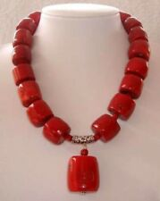 "Beautiful new style women's Red Cylinder Coral Gemstone Necklace 18"" AAA"