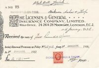 The Licenses & General Insurance Company Limited 1936 Stamp Receipt Ref 38176