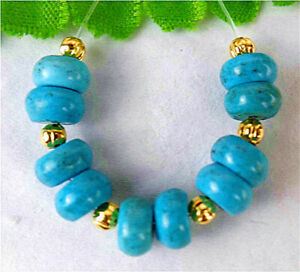 10Pcs 6x4mm Blue Turquoise Height Holes Abacus Bead AP9023