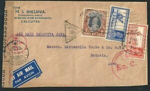 1941 WW2 Airmail Cover Calcutta India Postmark to Batavia Java Dutch East Indies