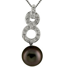 18k white gold pendant and chain with 11mm Tahitian pearl and 026ct DTW diamonds