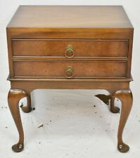KITTINGER Mahogany End Table with Two Drawers Williamsburg Style