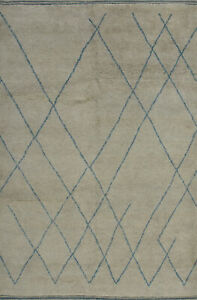 Moroccan Beni Ourain Rug, 6'x9', Grey/Blue, Hand-Knotted Wool Pile