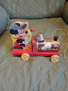 Vtg.1949 Mickey Mouse Choo Choo Train, Fisher Price Disney Pull Toy, #2533