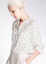 MARKS AND SPENCER AUTOGRAPH LONG SLEEVE BLOUSE 12 IVORY MIX BNWT