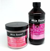 Mia Secret Cover Pink Acrylic Nail Powder 4 oz & 8 oz Monomer Set - Made in USA