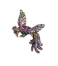 BROOCH/PIN GT Lots Of Colorful Rhinestones FANTASY BIRD IN FLIGHT
