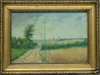 EDMUND FISCHER WHEAT FIELD LANDSCAPE LISTED DENMARK OIL PAINTING