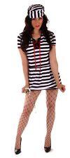 FANCY DRESS HALLOWEEN FEMALE PRISONER COSTUME ONE SIZE 10-14