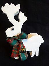 "White Reindeer Figurine 6"" Chunky Wood Fabric Plaid Bow Christmas Decor"