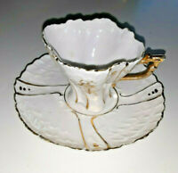 "Miniature tea cup & saucer white ruffled edges ANTIQUE Gold trim 4""x2"""