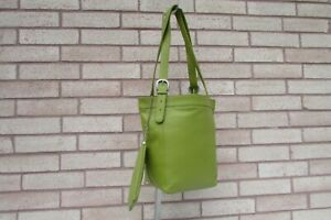 iLi Toronto Green Genuine Leather Shoulder Bag Bucket Tote Purse With Pouch