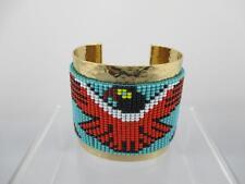 Vintage Copper Wide Cuff Bracelet w Beaded Thunderbird Design