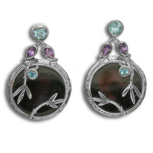 Offerings Sajen SS Black Shell, Amethyst & Swiss Blue Topaz Earring with Bamboo