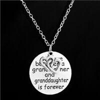 Love Between Grandmother Granddaughter Pendant Necklace Heart Family JewelrySN