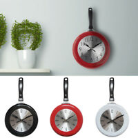 AM_ HOME DECOR KITCHEN WALL CLOCK FRYING PAN SMALL NOVELTY DESIGN METAL HOT STRI