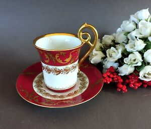 Elegant hand painted Limoges  cabinet Cup & Saucer Raised Gold