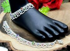 925 Sterling Silver Multi Mix Gemstone Indian Jewelry Women Anklets Size-10''
