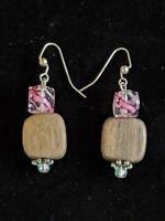 Artisan Silver Tone Wood Bead Pink Lampwork Bead Drop Dangle Earrings