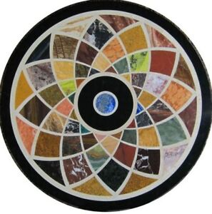 """18"""" Marble inlay semi precious stones round side Table Top home decor"""