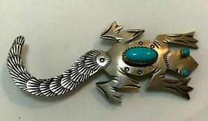 """NATIVE~FRANK YAZZIE~SIGNED """"FY"""" SOLID STERLING SILVER & CORAL LIZARD  BROOCH"""