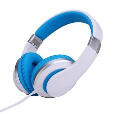 RockPapa Foldable Adjustable Adults Boys Girls Childs Kids Headphones White Blue