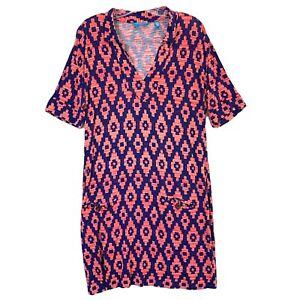 Tori Richard Womens Dress XL Short Sleeve Geo Print V-neck Pockets Stretch