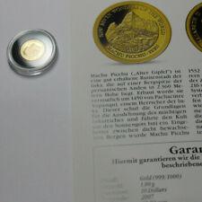 """""""Die kleinsten Goldmünzen"""" - Solomon Islands Gold 10$ 2007 - Machu Picchu"""