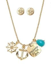 Dreaming Of The Sea Anchor Necklace Earrings Nautical Fast Shipping USA Seller
