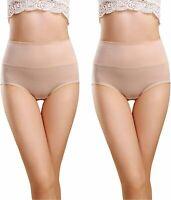 Women's High Waisted Cotton Underwear Briefs Ladies, Skin-2 Pack, Size