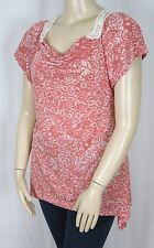 Cotton Blend Short Sleeve Casual Floral Tops for Women