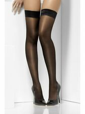 Ladies Sheer Sexy Black Stockings Hold ups Shine Tops Silicon Grip Uk 8 10 12 14