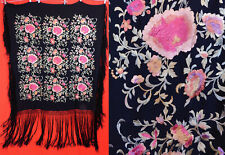 Vintage 20s Art Deco Black Silk Pink Floral Embroidery Boho Flapper Piano Shawl