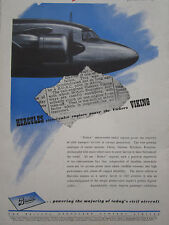 1/1947 PUB BRISTOL AEROPLANE HERCULES ENGINES VICKERS VIKING AIRLINER AD