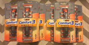 6 Pack BIC Comfort 3 Hybrid Men's Razor Shaver 1 Handle/ 6 Cartridges Refills