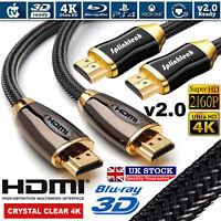 PREMIUM HDMI Cable v2.0 HD High Speed 4K 2160p 3D Lead 1m/2m/4m/5m/10m/15m/20m
