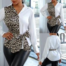 Damen Leopard Shirt Langarm T-Shirt Bluse Freizeit Oberteile Business Top Hemd