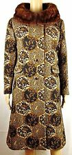 Vintage Sears Womens Large Mod Carpet Floral Paisley Tapestry Fur Coat USA New