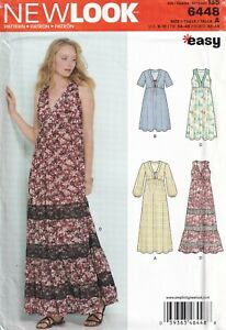 New Look Sewing Pattern 6448 EASY Dress in Maxi Length, Tie Front Size 6-18 New