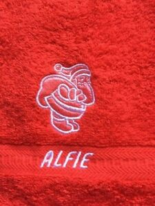 Embroidered CHRISTMAS design face flannel/cloth, and personalised,£4.45  inc P&P