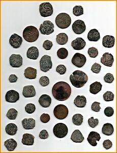 BIG LOT OF 51 ANCIENT COINS OF DIFFERENT EPOCAS-MEDIEVAL -XVI-XVII-XVII-ETC