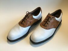 Mint Condition Mens Footjoy Icon Golf Shoes White with Brown Saddle 12M #52013