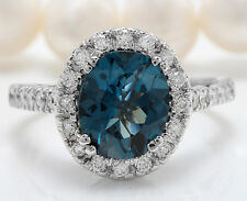 Women Natural London Blue Topaz and Diamonds 6.50 CTW in 14K White Gold Ring