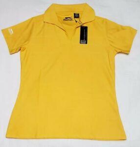 NEW Slazenger Womens Golf Polo Shirt Ladies Faint Striped Yellow Size S Small