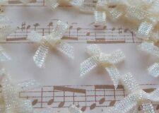 100! Cute 'n Tiny 15mm Organza Glitter Bows - Pale Ivory Cream Bow - 3mm Ribbon