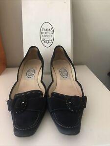 EMMA HOPE Navy Suede Kitten Heels Were £285 Gorgeous Summer Shoes